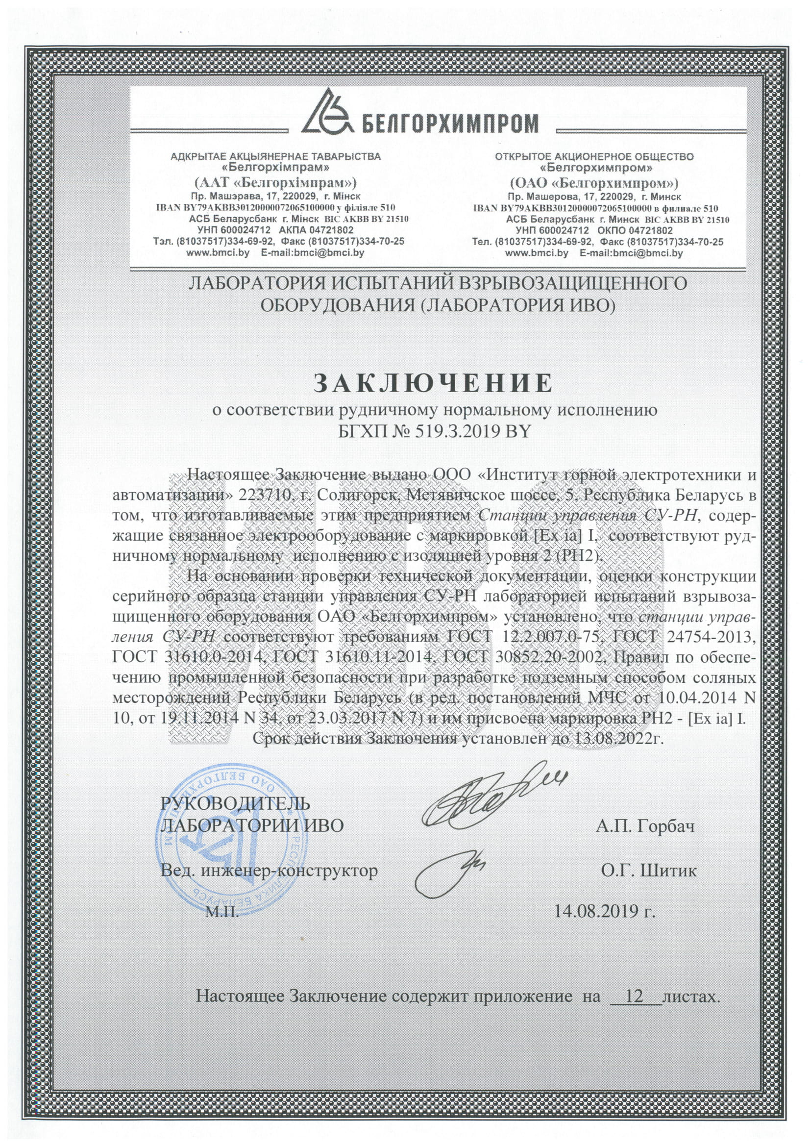 Statement of conformity to standard mining version by Belgorkhimprom No.519.З.2019 BY valid till 13.08.2022